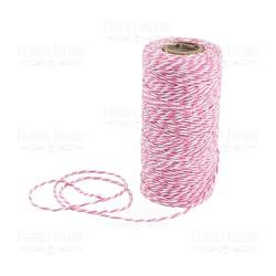 Хлопковый меланжевый шнур (белый с нежно-розовым) - 1 м