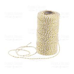 Хлопковый меланжевый шнур (белый с золотым) - 1 м