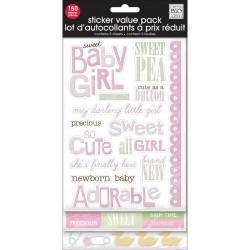 Наклейки с глиттером (5 листов) - Sweet Baby Girl - MAMBI
