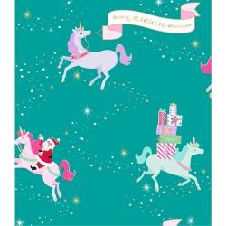 Бумага упаковочная 76х300 см - Santa Unicorn - American Crafts