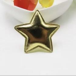 Тканевый декор патч - звезда золотая металик (3,5 см)