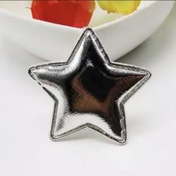 Тканевый декор патч - звезда серебро металик (3,5 см)