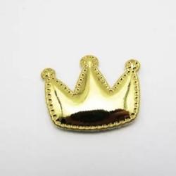 Тканевый декор патч - корона золото металик (4х3 см)