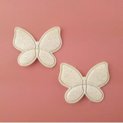 Тканевый декор патч - бабочка белый глиттер (3х2,5 см)