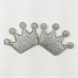 Тканевый декор патч - корона серебро глиттер