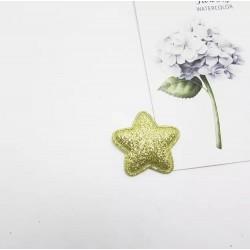 Тканевый декор патч -звезда золото глиттер (2,8 см)