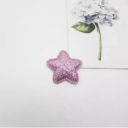 Тканевый декор патч - звезда розовый глиттер (2,8 см)