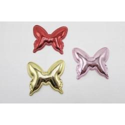 Тканевый декор патч - бабочка золото металик (5х4 см)