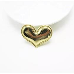 Тканевый декор патч - сердечко золото металик (3,8х3 см)