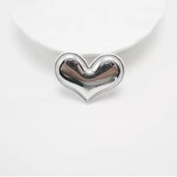 Тканевый декор патч - сердечко серебро металик (3,8х3 см)