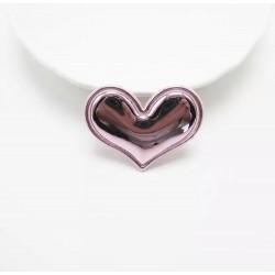 Тканевый декор патч - сердечко розовое металик (3,8х3 см)