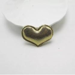 Тканевый декор патч - сердечко золотое (4х3 см)