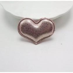 Тканевый декор патч - сердечко розовое (4х3 см)