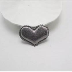 Тканевый декор патч - сердечко серебристое (4х3 см)