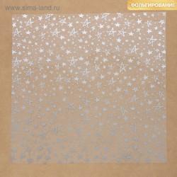 Ацетатный лист с фольгированием, 30,5х30,5 см - «Серебряные звезды» - Артузор