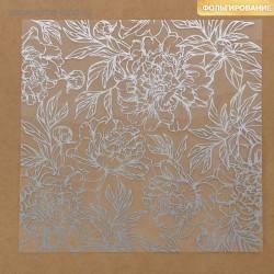 Ацетатный лист. 20×20 см - «Серебряные пионы» - Артузор