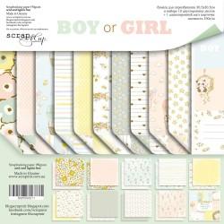 Набор двусторонней бумаги 30х30см - Boy or Girl - Scrapmir