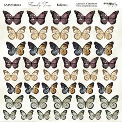 """Лист бумаги """"Бабочки"""" 20*20 - Family Tree - Scrapmir"""