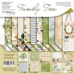 Набор двусторонней бумаги 20х20см - Family Tree  - Scrapmir