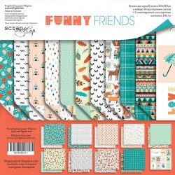 Набор двусторонней бумаги 30х30см - Funny Friends  - Scrapmir
