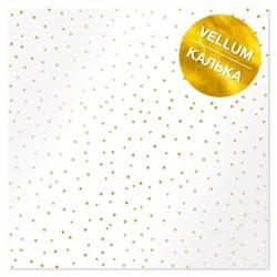 """Лист кальки (веллум) с фольгированием 30х30 см - """"Golden Drops"""" - Фабрика Декору"""