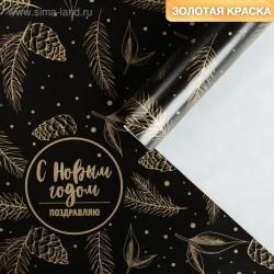 Бумага упаковочная глянцевая, 70×100 см - «С Новым годом»