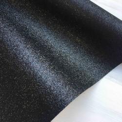 Ткань с мелким глиттером (чёрный), 25х30 см
