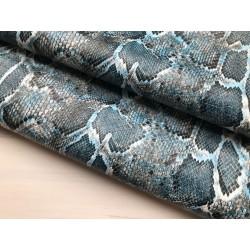 Кожзам с принтом (стрейч) №005 - Питон (синий), 25х34 см