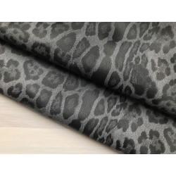 Кожзам с принтом (стрейч) №006 - Леопард (серый), 25х34 см
