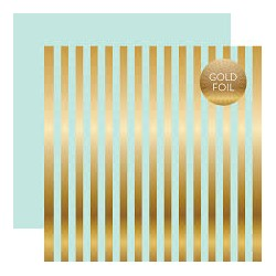 Лист бумаги Gold Foil Lt. Mint - Dots&Stripes - Echo Park