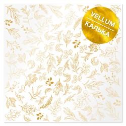 Калька (веллум) 30х30 см - Golden branches - Фабрика Декору