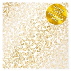 Ацетатный лист - Golden butterflies - Фабрика Декору