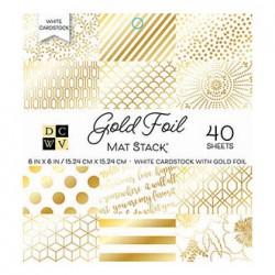 1/4 набора бумаги 15х15 - Mat Stack Gold Foil - DCWV