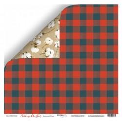 Лист бумаги Красный Плед - Merry Christmas - ScrapMir
