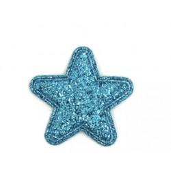 Тканевый декор (патч) - Звезда голубая глиттерная (2,8 см)