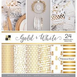 1/2 набора бумаги 30х30 (12 л) - Gold & White - DCWV
