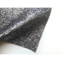 Ткань с крупным глиттером, 26х35 см - Тёмное серебро