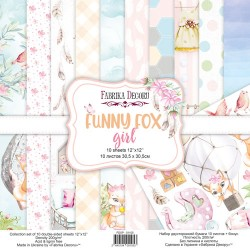 Набор скрапбумаги 30x30 см - Funny fox girl - Фабрика Декору