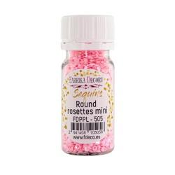 Пайетки розетки мини №505 - Розовые с радужным перламутром - Фабрика Декору